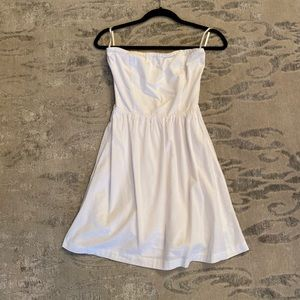 White Cotton Strapless Gap Dress